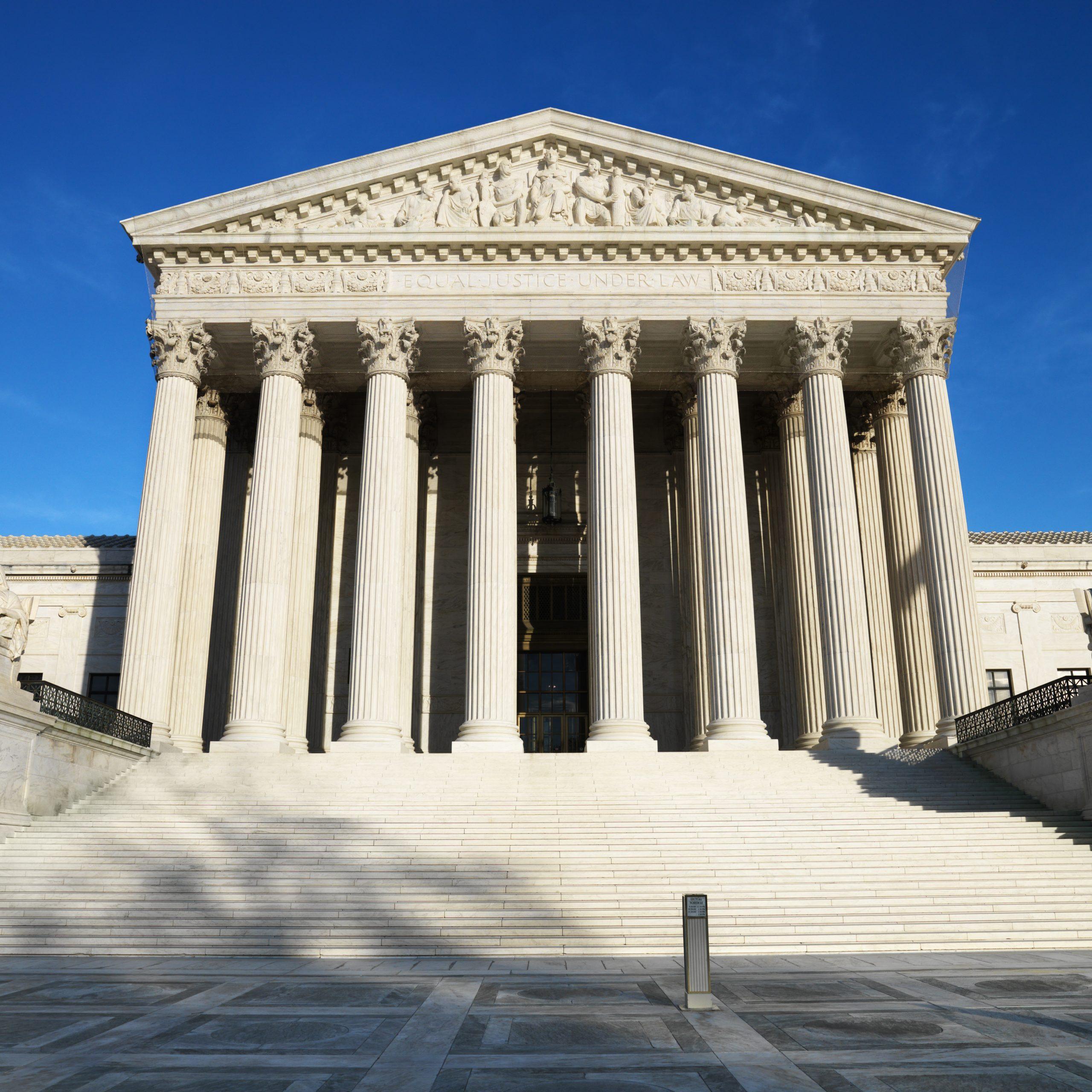 Supreme Court building in Washington, DC, USA.